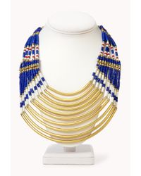 Forever 21 | Blue Beaded Tribalinspired Necklace | Lyst