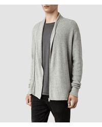 AllSaints - Gray Penza Cardigan for Men - Lyst