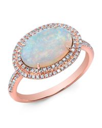 Anne Sisteron - Pink 14kt Rose Gold Double Halo Opal Diamond Cocktail Ring - Lyst