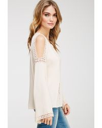Forever 21 - Pink Contemporary Crocheted Open-shoulder Top - Lyst