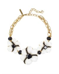 Oscar de la Renta | Black Resin and Cabochon Flower Necklace | Lyst