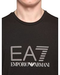 EA7 - Black Logo Printed Cotton Jersey T-shirt for Men - Lyst