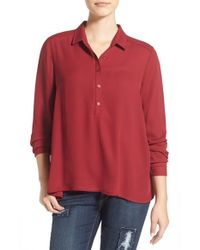 Lush - Red Perfect High-Low Shirt - Lyst