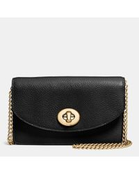 COACH | Black Clutch Chain Wallet In Pebble Leather | Lyst