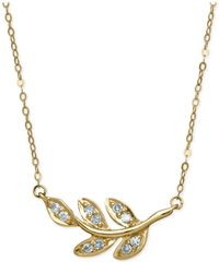 Macy's | Metallic Diamond Leaf Pendant Necklace (1/10 Ct. T.w.) In 10k Gold | Lyst