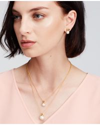 Ann Taylor | Metallic Layered Pearlized Pendant Necklace | Lyst
