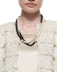 St. John | Black Simulated Two-Tone Pearl Necklace | Lyst
