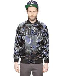 Stussy Blue Techno Satin Bomber Jacket for men