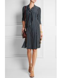 FRAME - Blue Le Shirt Striped Washed Silk-charmeuse Dress - Lyst