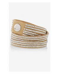 Express - Natural Faux Suede Rhinestud Double Wrap Bracelet - Lyst
