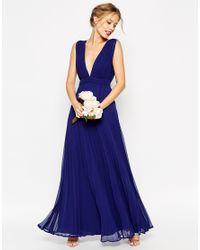 ASOS Blue Wedding Deep Plunge Super Full Pleated Maxi Dress