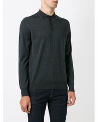 Ferragamo - Gray Long Sleeve Polo Shirt for Men - Lyst