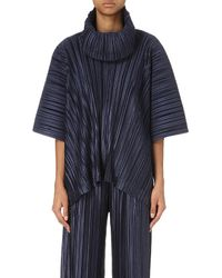 Pleats Please Issey Miyake - Blue Funnel-neck Pleated Top - Lyst