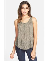 Lush - Gray Ribbed Henley Tank - Lyst