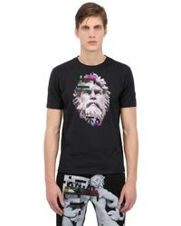 Frankie Morello Black Slim Fit Printed Cotton Jersey T-shirt for men