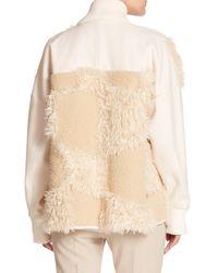 Tibi | White Akiak Faux Fur & Knit Coat | Lyst