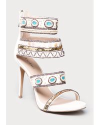 Bebe White Lolana Beaded Sandals