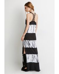 Forever 21 - Black Tie-dye Macramé Maxi Dress - Lyst