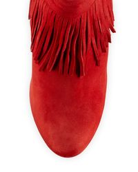 Charles David - Red Lula Fringe-trim Suede Bootie - Lyst