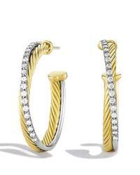 David Yurman | Yellow Crossover Medium Hoop Earrings With Diamonds In Gold | Lyst