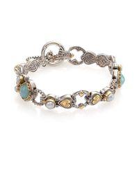 Konstantino | Metallic Amphitrite Sea Blue Agate, 2Mm-4Mm White Pearl, 18K Yellow Gold & Sterling Silver Heart Link Bra | Lyst