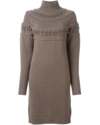 Agnona - Brown Fringed Details Knitted Dress - Lyst