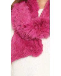Adrienne Landau | Pink Fur Scarf | Lyst