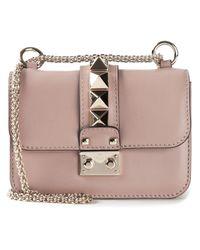 Valentino Natural Glam Lock Leather Shoulder Bag