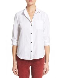 Current/Elliott | White 'the Slim Boy' Metallic Stripe Shirt | Lyst
