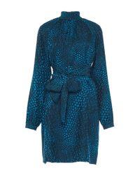 Vanessa Seward Blue Cecily Belted Raglan Dress