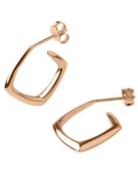 Dinny Hall - Pink Small Rose Gold-plated Cushion Hoops - Lyst