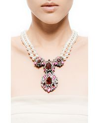 Shourouk - Pink Swan Crystal and Double Pearl Necklace - Lyst