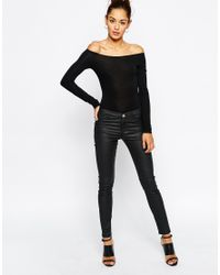 ASOS | Black The Off Shoulder Body With Long Sleeves | Lyst