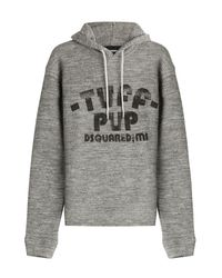 DSquared² Gray Printed Cotton Hoodie - Grey for men