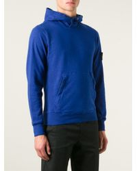 Stone Island Blue Logo Patch Hoodie for men