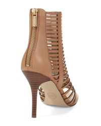 MICHAEL Michael Kors | Natural Odelia Caged Leather Heels | Lyst
