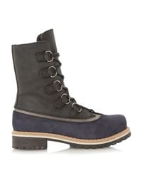Dune - Blue Raincloud Leather Lace Up Calf Boots - Lyst