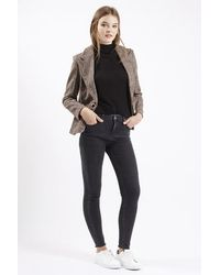 TOPSHOP Brown Hacking Tweed Jacket