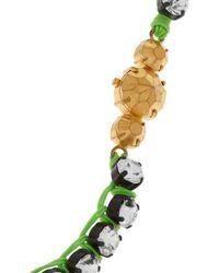 Shourouk Green Mini Theresa Swarovski Crystal Necklace