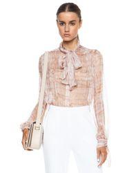 Alexander McQueen - Pink Ruffle Printed Bow Silk Top - Lyst