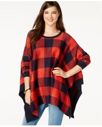 Tommy Hilfiger | Red Plaid Asymmetrical Swing Sweater | Lyst
