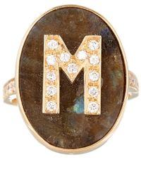 Carolina Bucci Metallic Rose Gold Diamond And Labradorite M Initial Ring