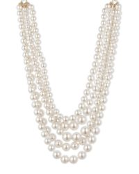 Anne Klein | White Multi-row Faux Pearl Necklace | Lyst