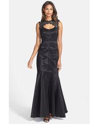 Xscape   Black Lace & Taffeta Mermaid Gown   Lyst