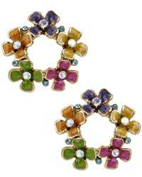 Betsey Johnson Metallic Gold-Tone Crystal Flower Wreath Stud Earrings