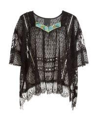 Anna Sui | Multicolor Vintage Lace Top - Black | Lyst