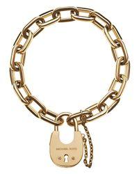 Michael Kors | Gold Padlock Link Bracelet | Lyst
