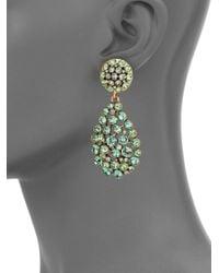 Oscar de la Renta | Green Swarovski Crystal Teardrop Earrings | Lyst