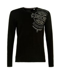 Guess | Black Stamp Long Sleeves T-shirt for Men | Lyst