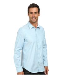 Calvin Klein | Blue Liquid Cotton Chambray Faint Stripe Woven Shirt for Men | Lyst